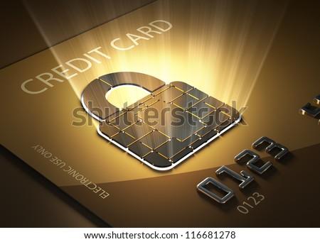 Credit card and lock shaped contact point - Concept of secure transactions - stock photo
