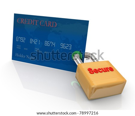 Credit card and padlock. Concept of credit card protection measurement - stock photo