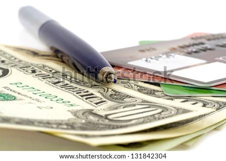 Credit card and pen closeup - stock photo