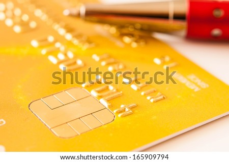 credit card and pen for background - stock photo