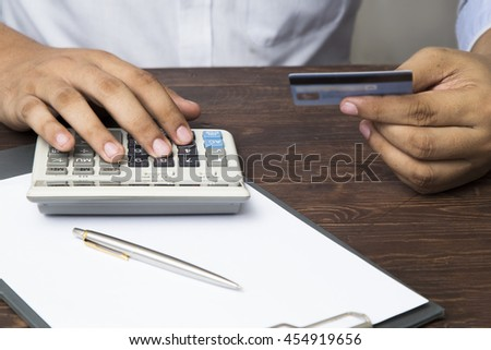 credit card use calculator calculate income stock photo royalty