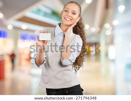 Credit Card. Attractive Young Woman with Blank Credit Card - stock photo