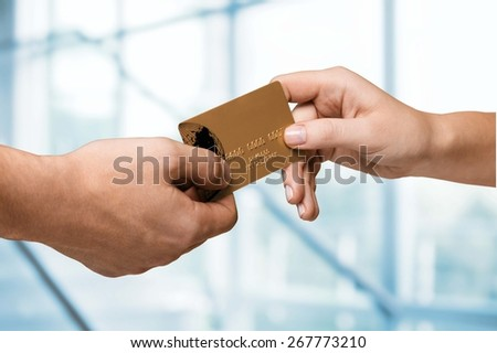 Credit Card, Buying, Hotel. - stock photo