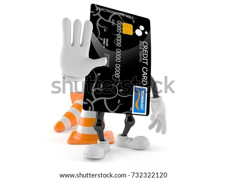 Credit card character with traffic cone isolated on white background. 3d illustration