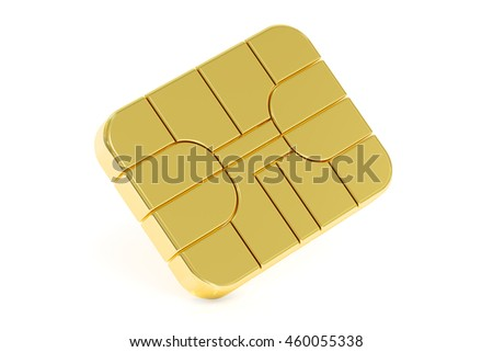 Credit Card Chip or SIM card chip, 3D rendering isolated on white background