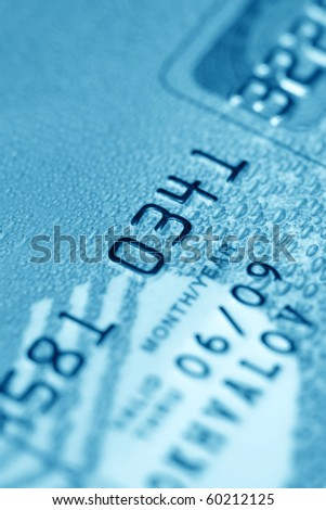 Credit card (close up, blue toned) - stock photo