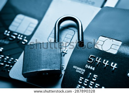 credit card data security breach / data decryption on credit card concept - stock photo