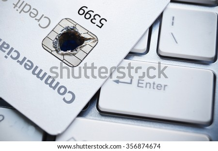credit card data security / unauthorized access to financial information - stock photo