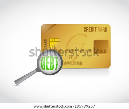 credit card debt review concept illustration design over a white background
