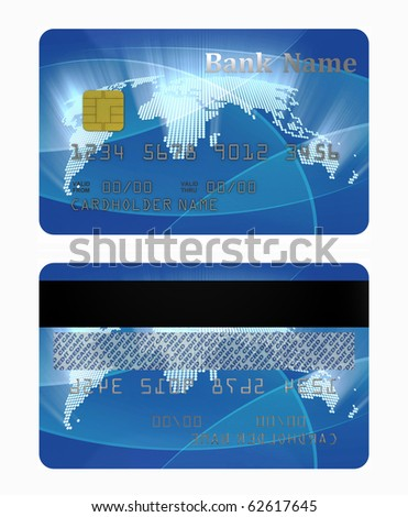 credit card front and back side - stock photo