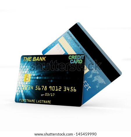 Credit Card Front and Back Side isolated on white background