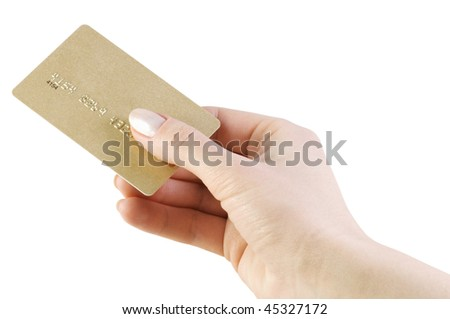 credit card in hand isolated on white background