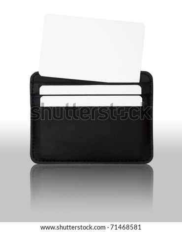 credit card in seamed leather holder isolated on white background - stock photo