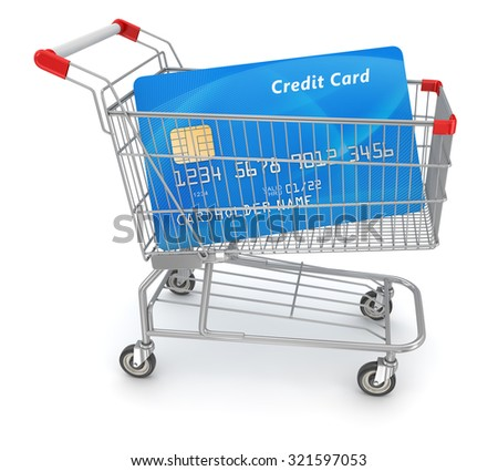 Credit Card in Shopping Cart. 3d rendered and isolated image.