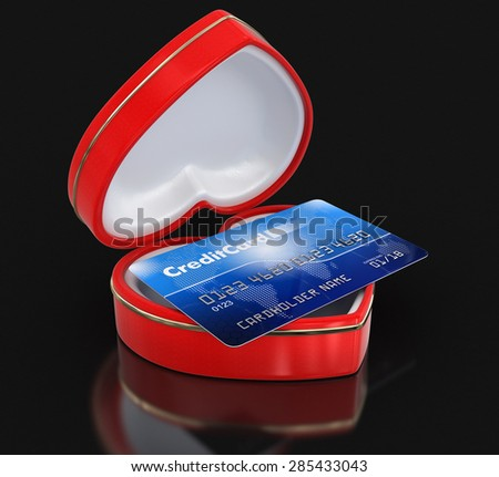 Credit Card in the heart box (clipping path included) Elements of this image furnished by NASA