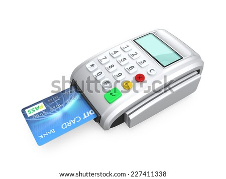 Credit card inserted into a silver card-reader, isolated on white background - stock photo