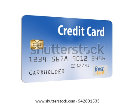 Credit card isolated on a white background. This is a mock, generic safe to publish credit card. The card is shown at an angle with perspective on a white background.