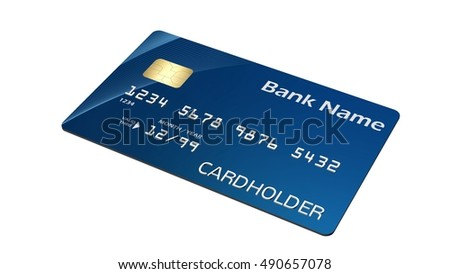 Credit Card  isolated on white background - 3d rendering