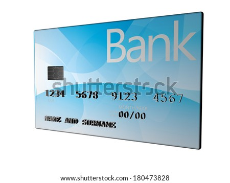 Credit card isolated over white, 3d render