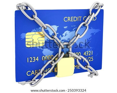 Credit card locked - stock photo