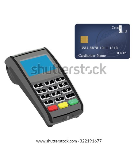 Credit card machine and credit card raster illustration. Credit card machine. Credit card scanner. Bank system