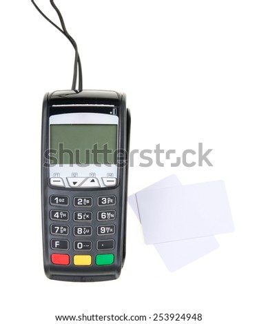 Credit card machine and white cards isolated on white background - stock photo