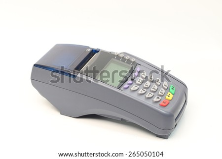 Credit card machine isolated on white background - stock photo