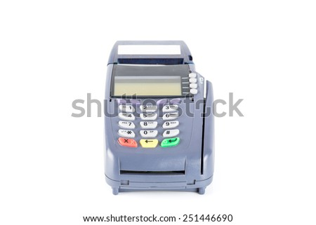 Credit card machine isolated on white background (with clipping path)  - stock photo