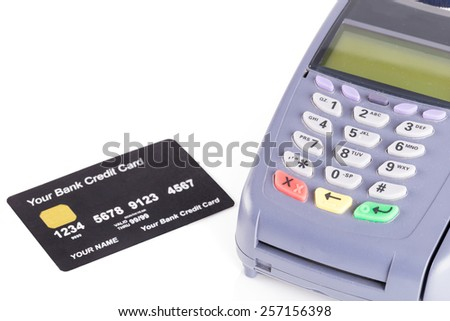 Credit card machine on white background - stock photo