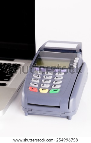 Credit Card Machine on white In The Store - stock photo
