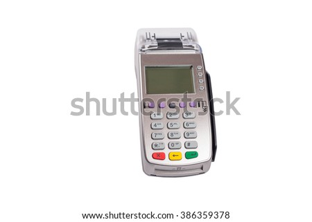 Credit card machine or pos terminal front view isolated on white