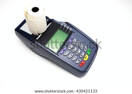 Credit card machine/payment terminal insulated with paper roll. Isolated on white background.