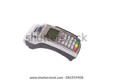 Credit card machine (pos terminal) with pin pad  isolated on white
