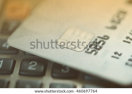 Credit card on calculator