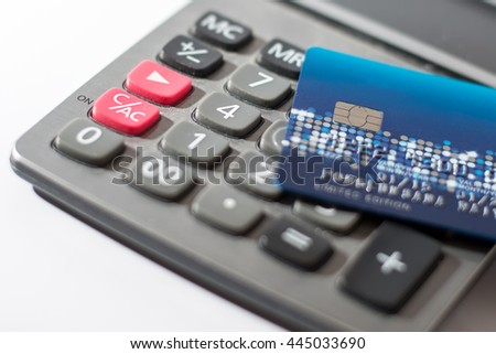 Credit card on calculator background