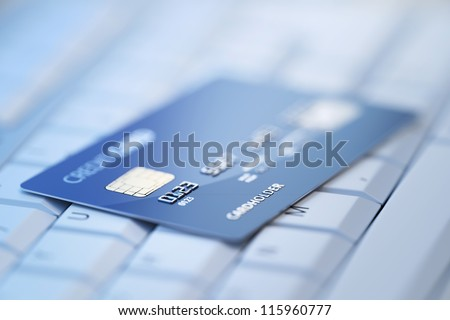 Credit Card on Computer Keyboard - 3d rendered with shallow DOF