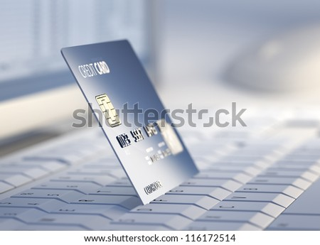 Credit Card on keyboard with desktop computer system in background - 3d - stock photo