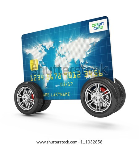 Credit Card on Wheels isolated on white background - stock photo