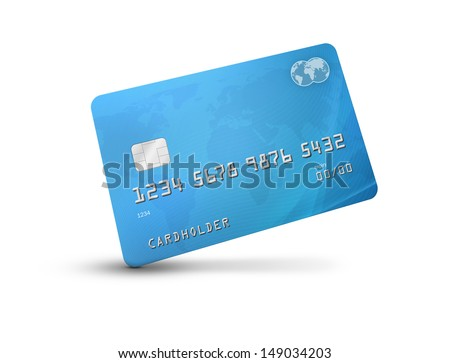 Credit card or debit card with world map on the background and corporate colours of grey and blue. isolated on a white background and shadow