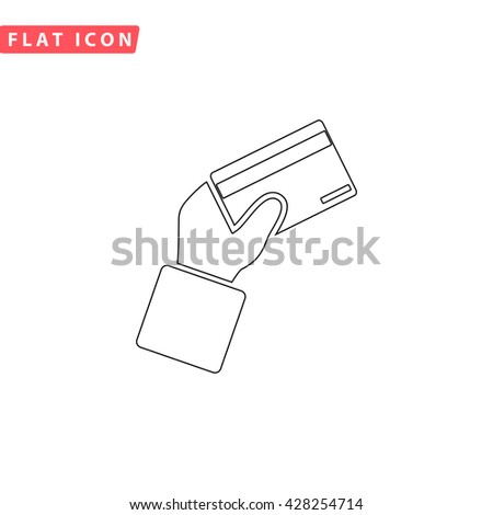 Credit card payment in hand. Black outline simple pictogram on white. Line icon - stock photo