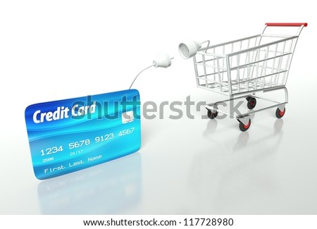 Credit card payment with shopping cart, concept - stock photo