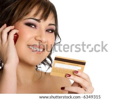 Credit Card Phone Woman - stock photo