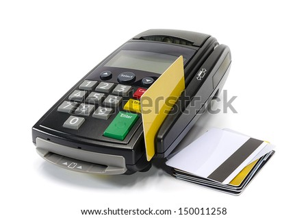 Credit card reader machine and blank credit card on white background - stock photo