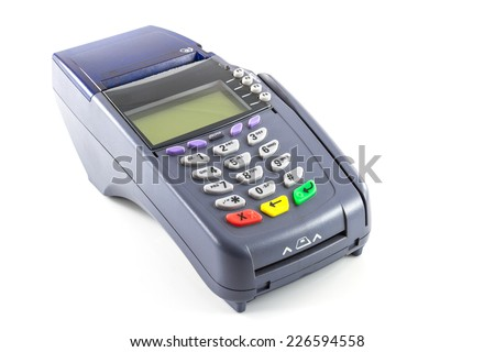 credit card reader machine on white background - stock photo