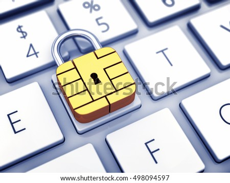 Credit card security chip as padlock on a computer keyboard , Safe online banking , Secure internet shopping , 3d illustration