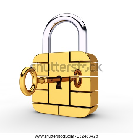 Credit card security chip as padlock , safe banking