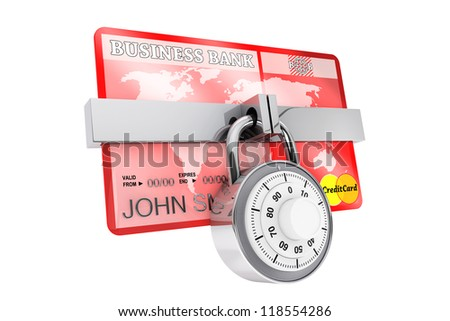 Credit Card Security concept. Credit card with security lock on  on a white background