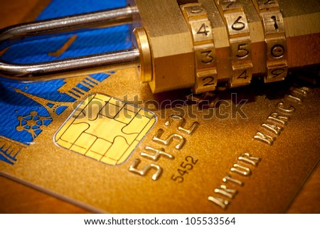 Credit Card Security. Padlock - stock photo