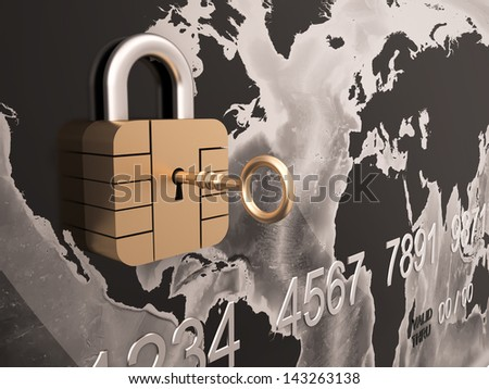 Credit Card Security with padlock , Three-dimensional shape - stock photo