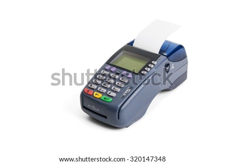 Credit card terminal on white background - stock photo